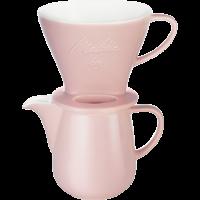 Porcelain Coffee Filter 1x4 & Porcelain Jug (Rose)