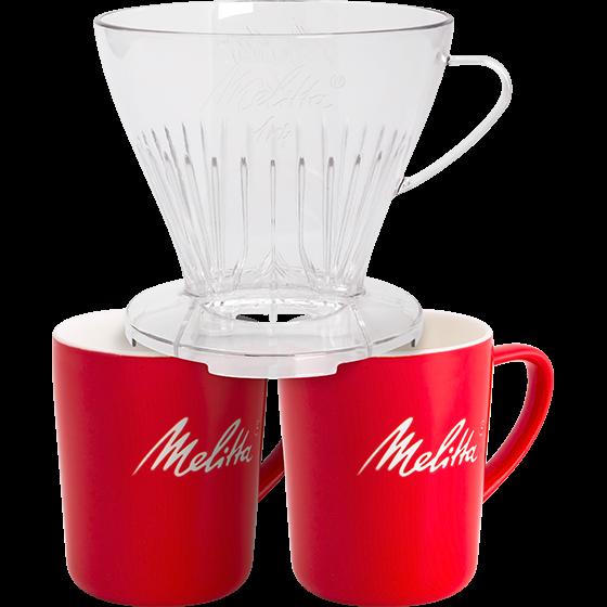 Kaffeefilter 1x4® transparent & 2 Melitta® Porzellanbecher