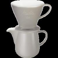 Porcelain Coffee Filter 1x4 & Porcelain Jug (Grey)