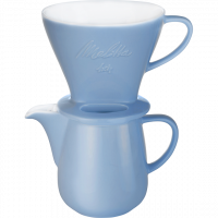 Porcelain Coffee Filter 1x4 & Porcelain Jug (Blue)