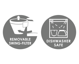 Dishwasher safe swivel filter and coffee pot