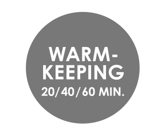 Programmable warm keeping (20, 40 or 60 minutes)